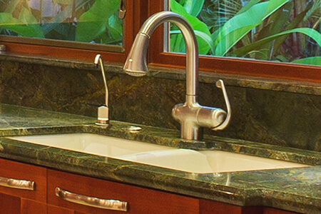 Square Bottom Undermount Sink Mounted in Green Granite Counter with Instant Hot Water Faucet