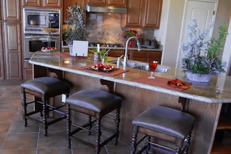Warm Brown Tones in Kitchen with Square Stool at Breakfast Counter Island