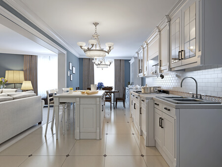 Modern White and Soft Blue Kitchen with Center Island Breakfast Bar