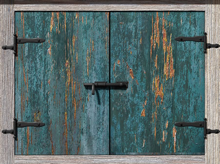 New Turquoise Cupboards with Crackling Paint Appear Old