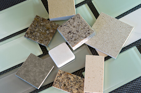 Glass Tile and Composite Counter Samples