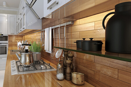 Real Wood Counter with Wood Look Ceramic Backsplash
